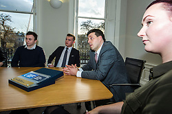 Pictured: Jamie Osbourne, IT apprentice, Ben Clark, Property Manager, Jamie Hepburn and Georgia Flanagan, Brand and Marketing Executive<br /> <br /> Employability and training minister Jamie Hepburn MSP, visited Grant Property in Edinburgh today to announce the latest labour market statistics and to award the company the 350th Investors in Young People award. <br /> <br /> Ger Harley | EEm 14 December 2016