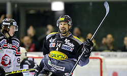 28.02.2016, Messestadion, Dornbirn, AUT, EBEL, Dornbirner Eishockey Club vs HC Orli Znojmo, Viertelfinale, 2. Spiel, im Bild Torjubel bei Dornbirner Eishockey Club, Keyle Greentree, (Dornbirner Eishockey Club, #14)// during the Erste Bank Icehockey League 2nd quarterfinal match between Dornbirner Eishockey Club and HC Orli Znojmo at the Messestadion in Dornbirn, Austria on 2016/02/28, EXPA Pictures © 2016, PhotoCredit: EXPA/ Peter Rinderer