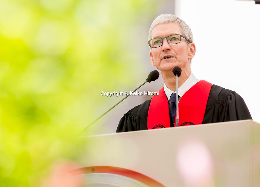 June 9, 2017,  Massachusetts Institute of Technology, Cambridge, Massachusetts: Apple CEO Tim Cook speaks during Commencement Exercises at Massachusetts Institute of Technology  in Cambridge.