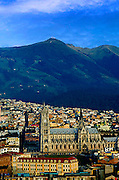 Basilica del Voto Nacional in Quito, Ecuador, surrounded by the Andes Mountains.