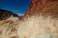 Rapid 15 known as Hell to Pay Rapid or Capsize Rapid, the Mile Long Rapids, Cataract Canyon, Canyonlands National Park, Utah, USA. This wild,  undammed 112 mile section of the Colorado River was flowing at over 52,000 cubic feet per second.