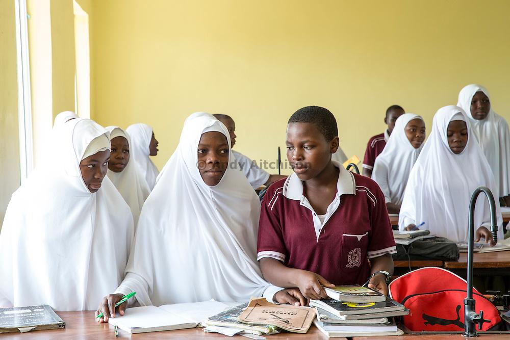 Children prepare for class, Angaza school, Lindi, Tanzania.