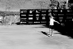 June 23, 2018 - L'Aquila, Italy - (EDITORS NOTE: Image has been converted to black and.white.) Facundo Bagnis during match between Facundo Bagnis (ARG) and Guilherme Clezar (BRA) during Men Semi-Final match at the Internazionali di Tennis Citt dell'Aquila (ATP Challenger L'Aquila) in L'Aquila, Italy, on June 23, 2018. (Credit Image: © Manuel Romano/NurPhoto via ZUMA Press)