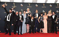 Actors Rory McCann, Conleth Hill, Iwan Rheon, Gwendoline Christie, Peter Dinklage, Nikolaj Coster-Waldau, Maisie Williams, Emilia Clarke, Sophie Turner and Kit Harington, winners of Best Drama Series for 'Game of Thrones', pose in the press room during the 68th Annual Primetime Emmy Awards at Microsoft Theater on September 18, 2016 in Los Angeles, CA, USA. Photo by Lionel Hahn/ABACAPRESS.COM