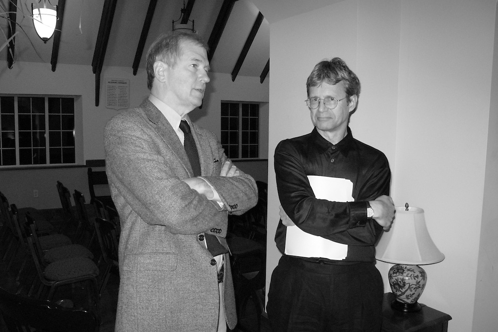 Wyatt Prunty (poet, critic, and director of the Sewanee Writers' Conference) and William Logan (poet and critic at the University of Florida) in Sewanee, Tennessee.