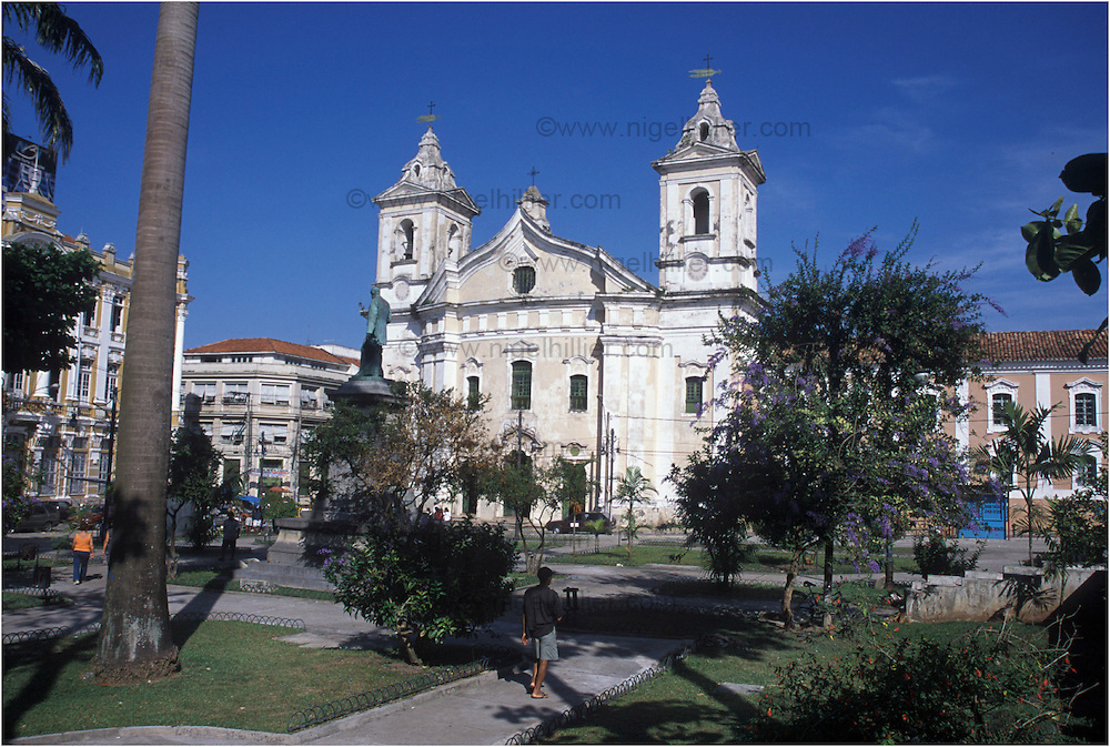 copyright: Nigel Hillier.Brazil,Para,Belem.old church(Igreja de N. das Merres), gardens in foreground.