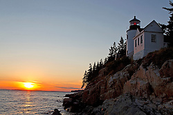 Bass Harbor Head Lighthouse at sunset, Acadia National Park, Maine, United States of America