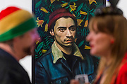 Boy George visits - The Royal Society of Portrait Painters Annual Exhibition at the Mall Galleries. It includes over 200 portraits by over 100 artists.