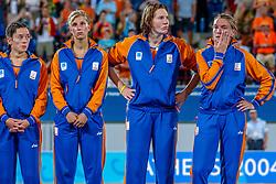 27-08-2004 GRE: Olympic Games day 14, Athens<br /> Hockey finale vrouwen Nederland - Duitsland 1-2 / Clarinda Sinnige #1, Mijntje Donners #10, Lisanne de Roever #2, Macha van der Vaart #3