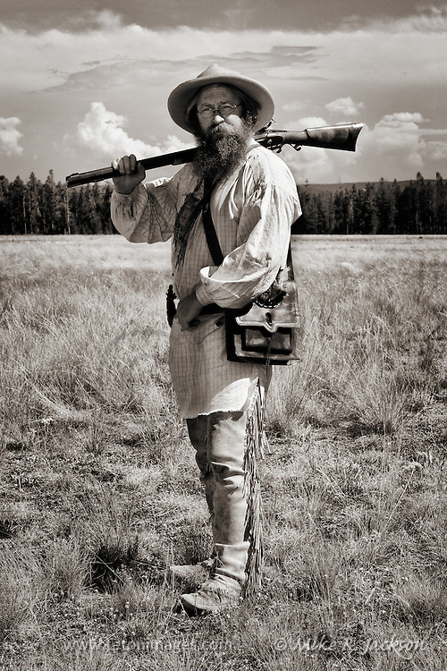 Buckskinner at a Mountain Man Rendezvous in eastern Montana near West Yellowstone.
