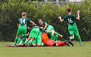 Team Slovenia celebrates after scoring the go ahead goal in overtime in their game against Canada during a CONCACAF boys under-15 championship soccer game, Saturday, August 10, 2019, in Bradenton, Fla. Slovenia defeated Canada in 2-1 in overtime and advanced to the finals against Portugal. (Kim Hukari/Image of Sport)
