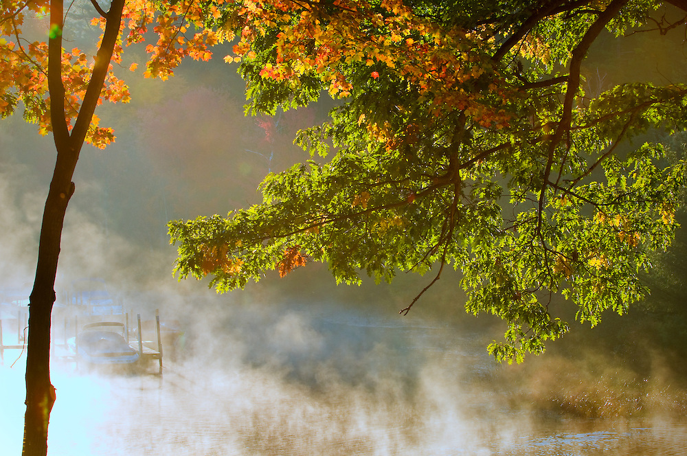 Morning fog on a river in Autumn.