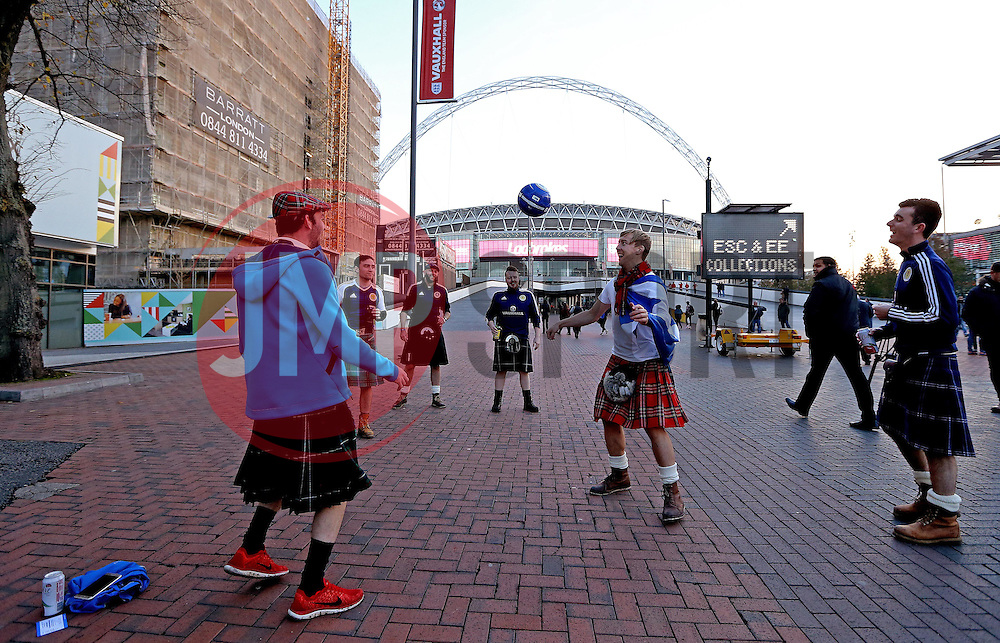 Scotland fans have a kick about outside Wembley - Mandatory by-line: Robbie Stephenson/JMP - 11/11/2016 - FOOTBALL - Wembley Stadium - London, United Kingdom - England v Scotland - European World Cup Qualifiers