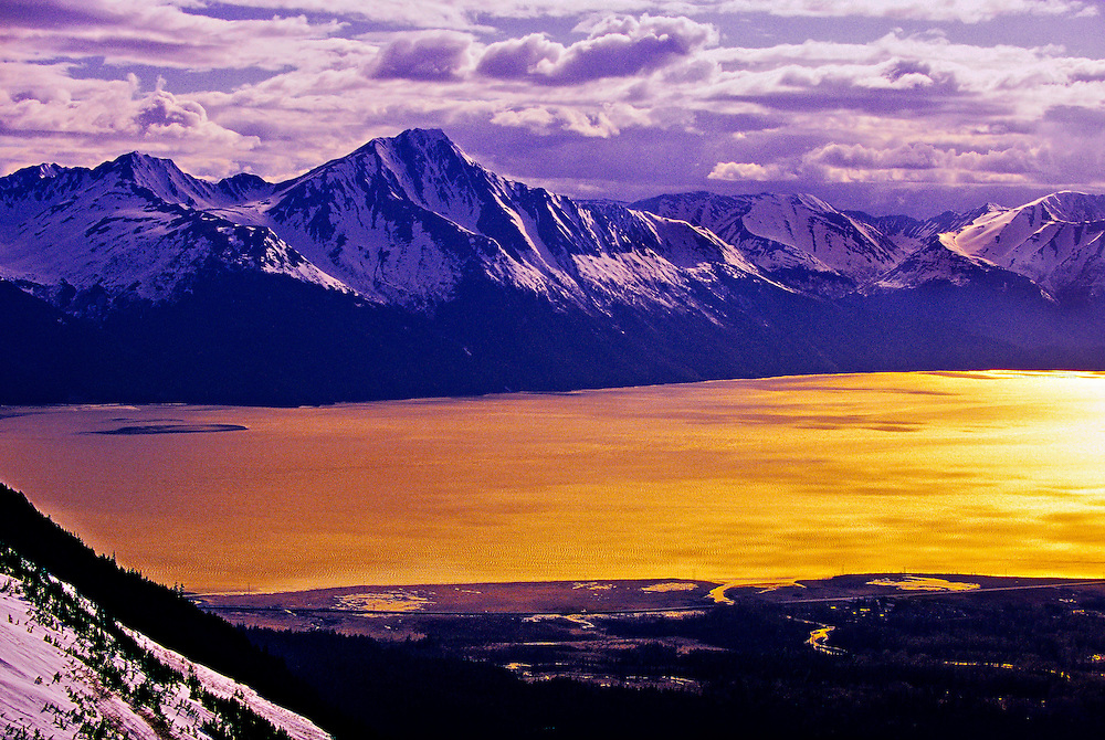 Turnagain Arm (seen from the top of Alyeska ski resort, Girdwood), near Anchorage, Alaska USA