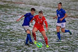 CESENA, ITALY - Tuesday, January 22, 2019: Wales' Emma Jones (R) and Italy's Manuela Giugliano during the International Friendly between Italy and Wales at the Stadio Dino Manuzzi. (Pic by David Rawcliffe/Propaganda)