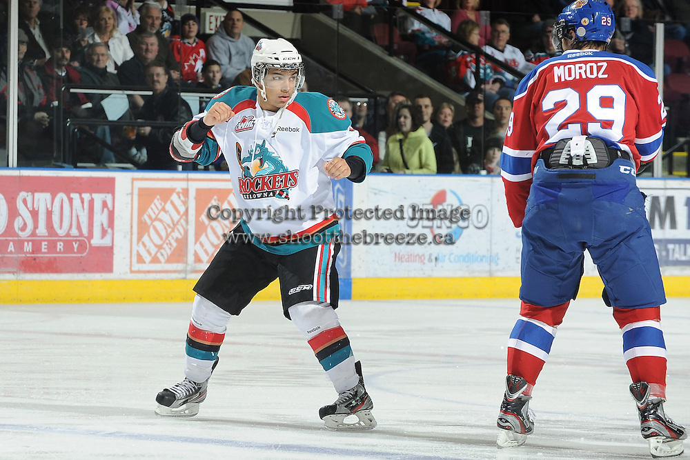 KELOWNA, CANADA - FEBRUARY 15: Tyrell Goulbourne #12 of the Kelowna Rockets gets in the face of Mitchell Moroz #29 of the Edmonton OIl Kings at the Kelowna Rockets on February 15, 2012 at Prospera Place in Kelowna, British Columbia, Canada (Photo by Marissa Baecker/Getty Images) *** Local Caption *** Tyrell Goulbourne;Mitchell Moroz;