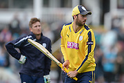 James Vince and Liam Dawson ahead of  the NatWest T20 Quarter final match between Worcestershire County Cricket Club and Hampshire County Cricket Club at New Road, Worcester, United Kingdom on 14 August 2015. Photo by David Vokes.