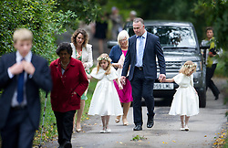 © London News Pictures. 14/09/2013.  Guests arriving at the wedding of Euan Blair, Son of former British Prime Minister Tony Blair,  to Suzanne Ashman at All Saints Parish Church in Wotton Underwood, Buckinghamshire. The wedding was attended by Former British Prime minister Tony Blair and his wife Cherie Blair. Photo credit: Ben Cawthra/LNP