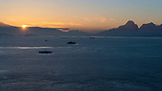 Sunset and evening view from Useful Island southbound through the Gerlache Streit, Antarctic Peninsula, Antarctica.