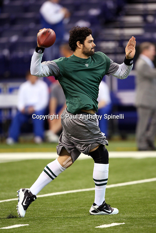 New York Jets quarterback Mark Sanchez (6) throws a pregame pass during the AFC Championship football game against the Indianapolis Colts, January 24, 2010 in Indianapolis, Indiana. The Colts won the game 30-17. ©Paul Anthony Spinelli