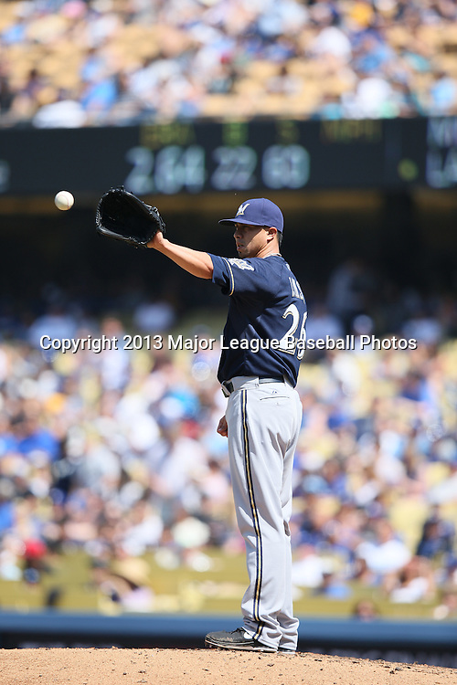 LOS ANGELES, CA - APRIL 28:  Kyle Lohse #26 of the Milwaukee Brewers pitches during the game against the Los Angeles Dodgers on Sunday, April 28, 2013 at Dodger Stadium in Los Angeles, California. The Dodgers won the game 2-0. (Photo by Paul Spinelli/MLB Photos via Getty Images) *** Local Caption *** Kyle Lohse