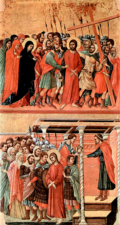 Maestà (Majesty), Altar of Siena Cathedral Pilate washes his hands of Year 1308-1311 by Duccio di Buoninsegna (c. 1255-1260 – c. 1318-1319) influential Italian artist, Born in Siena