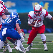 Smyrna Eagles wide receiver STEPHEN WHALEY (7) attempts to avoid a tackle in the fourth quarter of a DIAA Division I state championship game between the Smyrna Eagles and Middletown Cavaliers Saturday, Dec. 02, 2017 at Delaware Stadium in Newark, DE.