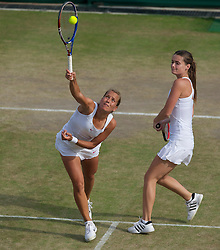 LONDON, ENGLAND - Tuesday, June 29, 2010: Barbora Zahlavova Strycova (CZE) and Iveta Benesova (CZE) during the Ladies' Doubles 3rd Round match on day eight of the Wimbledon Lawn Tennis Championships at the All England Lawn Tennis and Croquet Club. (Pic by David Rawcliffe/Propaganda)