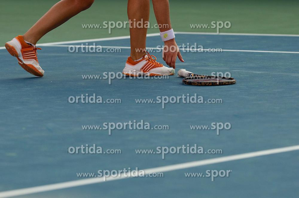 Maria Elena Camerin of Italy threw her racket at 2nd Round of Singles at Banka Koper Slovenia Open WTA Tour tennis tournament, on July 22, 2010 in Portoroz / Portorose, Slovenia. (Photo by Vid Ponikvar / Sportida)