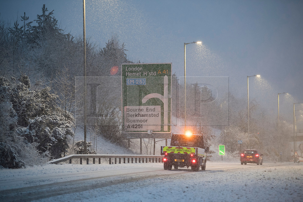 © Licensed to London News Pictures. 10/12/2017. Bourne End, UK. Heavy snowfall on the A41near Bourne End in Buckinghamshire as parts of the south east of England are blanketed with snow for the first time this winter. Photo credit: Ben Cawthra/LNP
