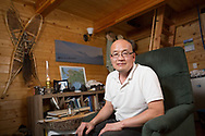 Permafrost scientist Kenji Yoshikawa in his cabin outside Fairbanks, Alaska. USA