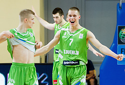 Luka Rupnik of Slovenia, Marko Pajic of Slovenia and Klemen Prepelic of Slovenia celebrate after winning the basketball match between National teams of Latvia and Slovenia in Qualifying Round of U20 Men European Championship Slovenia 2012, on July 16, 2012 in Domzale, Slovenia. Slovenia defeated Latvia 69-62. (Photo by Vid Ponikvar / Sportida.com)