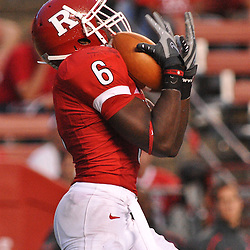 Sep 7, 2009; Piscataway, NJ, USA; Rutgers wide receiver Mohamed Sanu (6) catches a punt during the second half as Cincinnati defeats Rutgers 47-15 in NCAA Big East college football at Rutgers Stadium.
