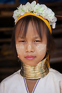 Long Neck girl in the near of Chiang Rai, North Thailand.