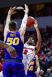 NORMAL, IL - December 31: Zach Copeland with a fader over Austin Phyfe during a college basketball game between the ISU Redbirds and the University of Northern Iowa Panthers on December 31 2019 at Redbird Arena in Normal, IL. (Photo by Alan Look)