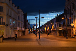 Euston Road, pedestrianised shopping street, at night, Great Yarmouth, Norfolk UK