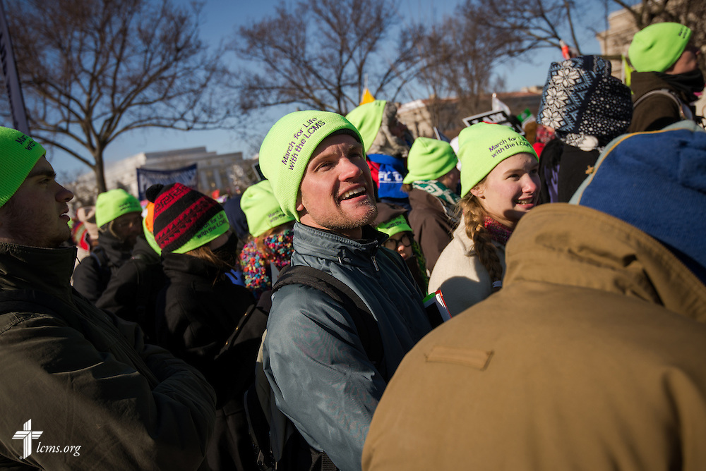 Daniel Vanderhyde, a teacher at Lutheran High School in Parker, Colo., leads a group of students Wednesday, Jan. 22, 2014, at the 41st March for Life in Washington, D.C. LCMS Communications/Erik M. Lunsford