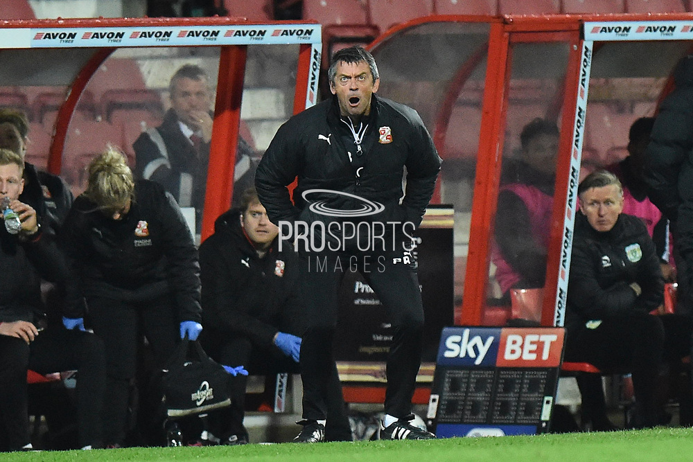 Swindon Town manager Phil Brown during the EFL Sky Bet League 2 match between Swindon Town and Yeovil Town at the County Ground, Swindon, England on 10 April 2018. Picture by Graham Hunt.
