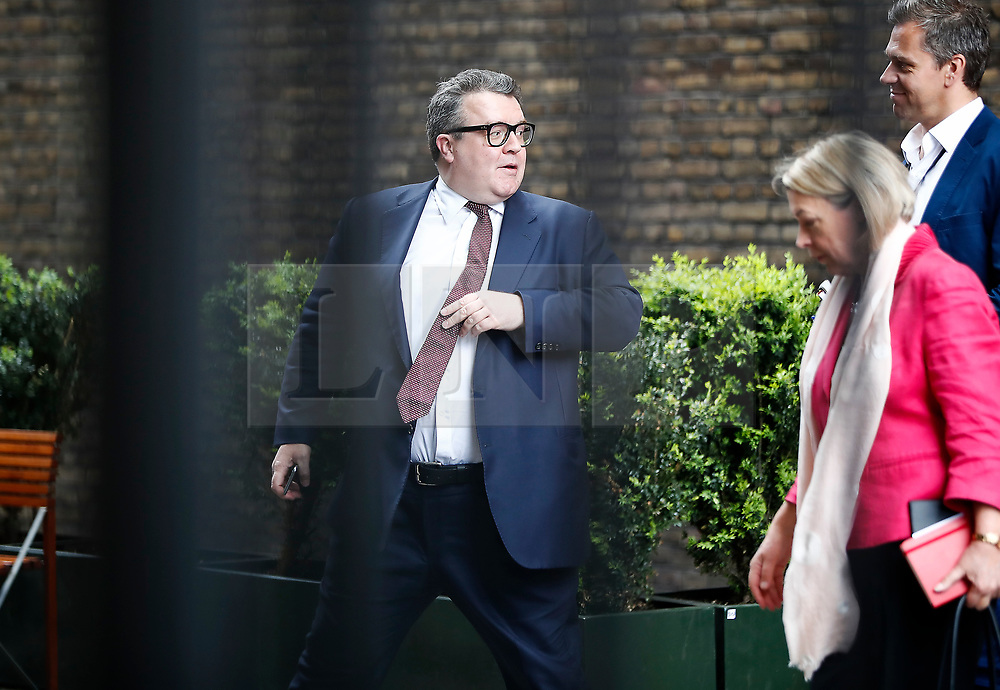 © Licensed to London News Pictures. 18/04/2017. London, UK. Labour Party deputy leader TOM WATSON (C) seen at the Houses of Parliament on the day that British Prime Minister Theresa May announced a snap general election for June 8th, 2017. Photo credit: Tolga Akmen/LNP