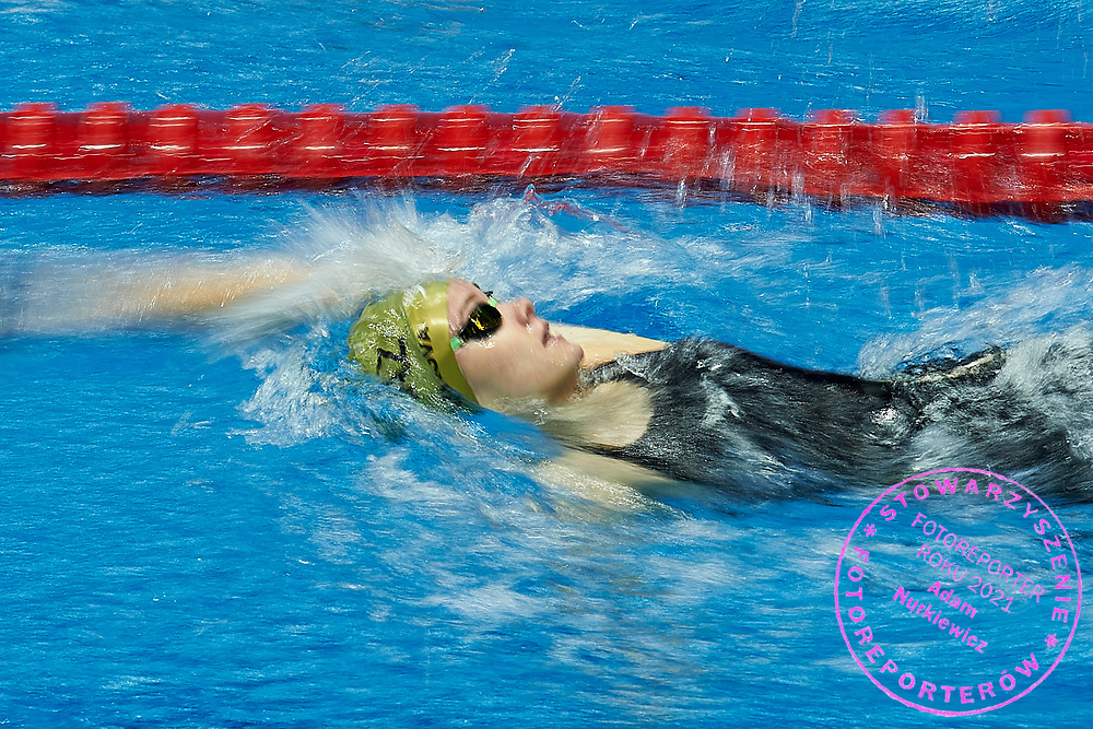 Ashgabat, Turkmenistan - 2017 September 24: Diana Nazarova from Kazakhstan competes in Women's 100m Backstroke Heat 1 while Short Course Swimming competition during 2017 Ashgabat 5th Asian Indoor & Martial Arts Games at Aquatics Centre (AQC) at Ashgabat Olympic Complex on September 24, 2017 in Ashgabat, Turkmenistan.<br /> <br /> Photo by © Adam Nurkiewicz / Laurel Photo Services