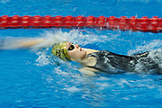 Ashgabat, Turkmenistan - 2017 September 24: Diana Nazarova from Kazakhstan competes in Women's 100m Backstroke Heat 1 while Short Course Swimming competition during 2017 Ashgabat 5th Asian Indoor &amp; Martial Arts Games at Aquatics Centre (AQC) at Ashgabat Olympic Complex on September 24, 2017 in Ashgabat, Turkmenistan.<br /> <br /> Photo by &copy; Adam Nurkiewicz / Laurel Photo Services