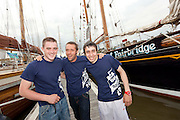 1/7/2011.From left Kiernan Burleigh Vince Brodie Skippers Mate and Dale Cunningham pictured with the Spirit of Fairbridge at the Waterford Tall Ships Festival..Picture Dylan Vaughan