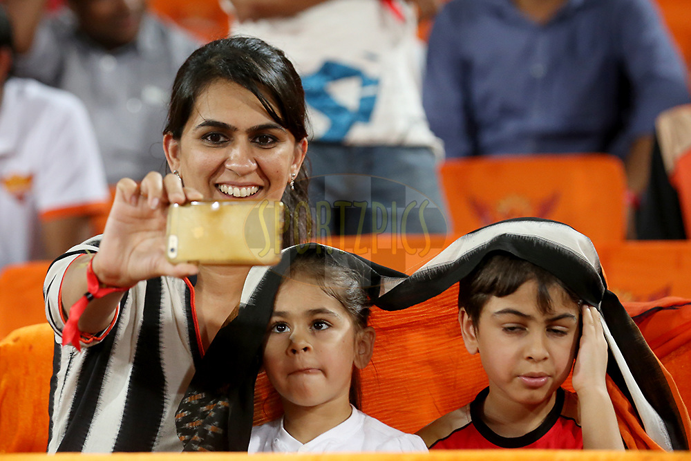 Sunrisers Hyderabad player Ashish Nehra wife Rushma Nehra takes selfie with her daughter Ariana Nehra and son Aarush Nehra during match 22 of the Vivo IPL 2016 (Indian Premier League ) between the Sunrisers Hyderabad and the Rising Pune Supergiants held at the Rajiv Gandhi Intl. Cricket Stadium, Hyderabad on the 26th April 2016<br /> <br /> Photo by Faheem Hussain / IPL/ SPORTZPICS