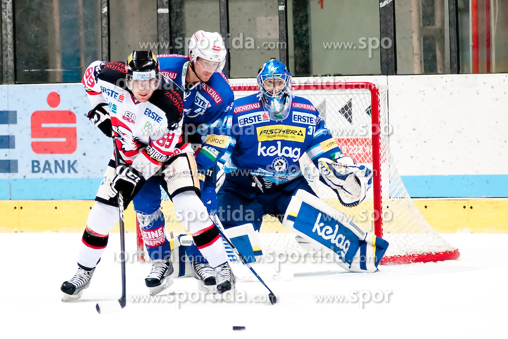 19.10.2012, Hostan Arena, Znojmo, CZE, EBEL, HC Orli Znojmo vs EC Villacher SV, 13. Runde, im Jan Lattner (Znojmo #89)  Mario Altmann (Villacher #41) Thomas Honeckl (Villacher #31) // during the Erste Bank Icehockey League 13nd round match betweeen HC Orli Znojmo and EC Villacher SV at the Hostan Arena, Znojmo, Czech Republic on 2012/10/19. EXPA Pictures © 2012, PhotoCredit: EXPA/ Rostislav Pfeffer