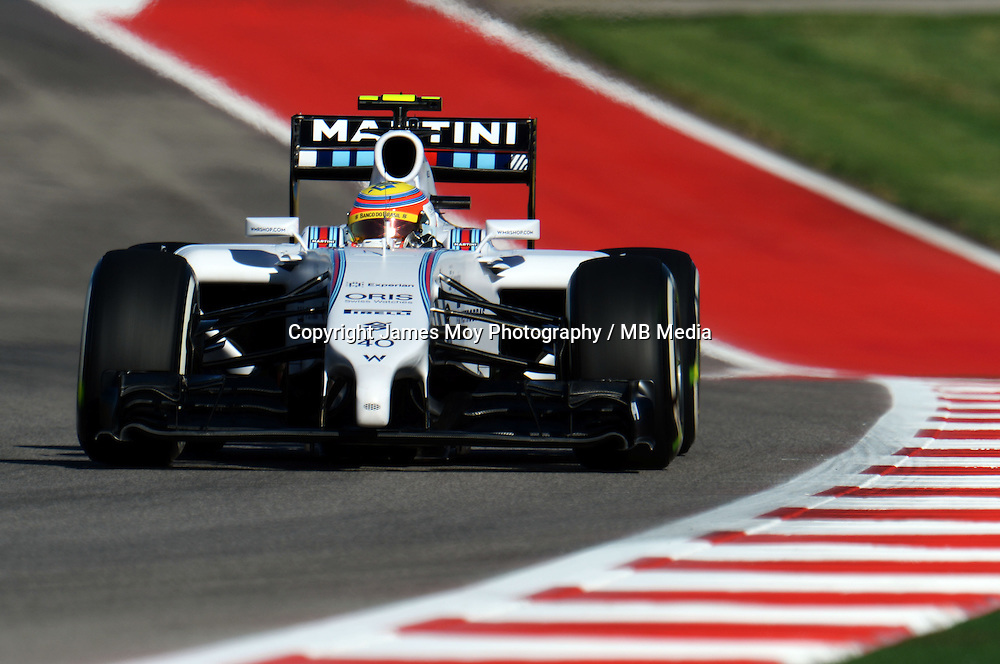 Felipe Nasr (BRA) Williams FW36 Test and Reserve Driver.<br /> United States Grand Prix, Friday 31st October 2014. Circuit of the Americas, Austin, Texas, USA.