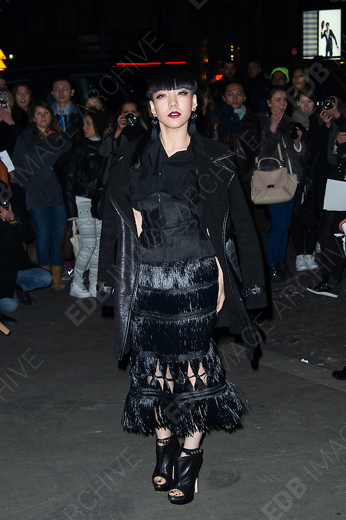 02.MARCH.2013. PARIS<br /> <br /> WU MOCHOU ARRIVING AT THE JEAN-PAUL GAULTIER'S FALL-WINTER 2013-2014 READY-TO-WEAR COLLECTION SHOW HELD ON THE WAGRAM STREET IN PARIS.<br /> <br /> BYLINE: EDBIMAGEARCHIVE.CO.UK<br /> <br /> *THIS IMAGE IS STRICTLY FOR UK NEWSPAPERS AND MAGAZINES ONLY*<br /> *FOR WORLD WIDE SALES AND WEB USE PLEASE CONTACT EDBIMAGEARCHIVE - 0208 954 5968*