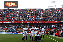 February 23, 2019 - Seville, Madrid, Spain - Sevilla FC team players are seen celebsrating after Jesus Navas scoring a goal during the La Liga match between Sevilla FC and Futbol Club Barcelona at Estadio Sanchez Pizjuan in Seville, Spain. (Credit Image: © Manu Reino/SOPA Images via ZUMA Wire)