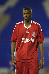 BIRKENHEAD, ENGLAND - Thursday, March 25, 2010: Liverpool's Damien Plessis in action against Wigan Athletic during the FA Premiership Reserves League (Northern Division) match at Prenton Park. (Photo by David Rawcliffe/Propaganda)
