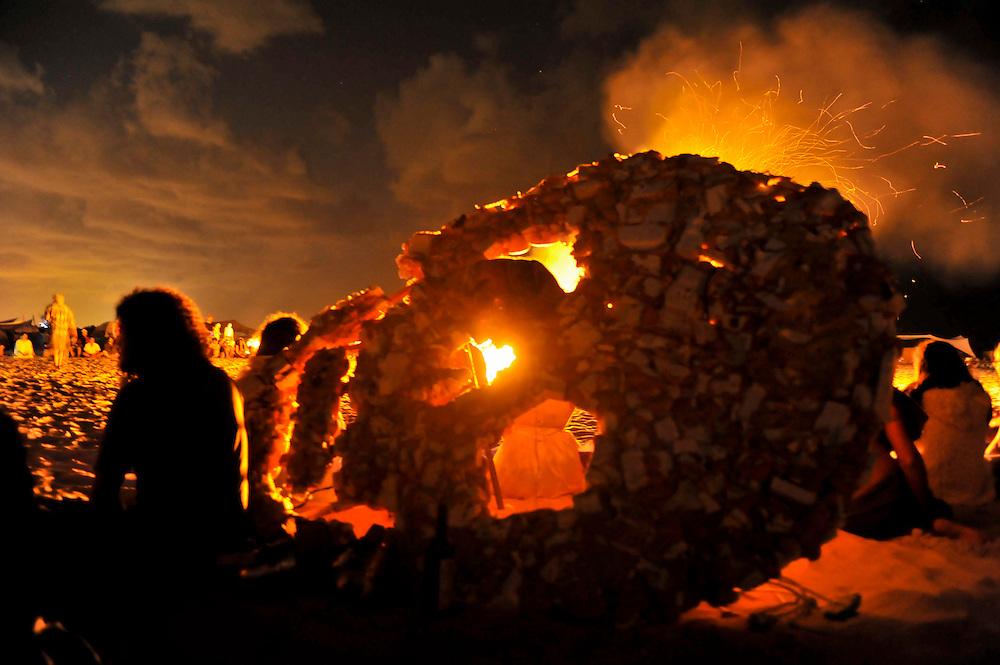 """Art installation at """"Mid Burn"""", the Israeli """"Burning Man Festival"""" held at """"Habonim"""" beach north of Israel October 4-6, 2012."""