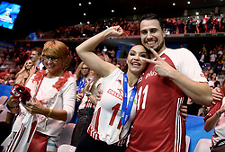 September 30, 2018 - Turin, Italy - Poland v Brazil - FIVP Men's World Championship Final.Fabian Drzyzga of Poland celebrates with his wife Monika at Pala Alpitour in Turin, Italy on September 30, 2018. (Credit Image: © Matteo Ciambelli/NurPhoto/ZUMA Press)